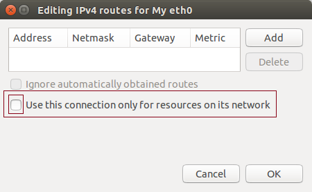 Ubuntu Edit Routes for an Ethernet interface